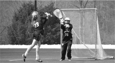 Girls' varsity lacrosse practices.
