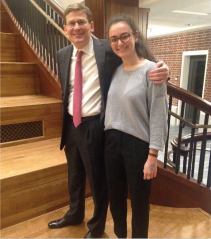 Victoria Wahba '17 stands with Mike Morrell after his lecture.