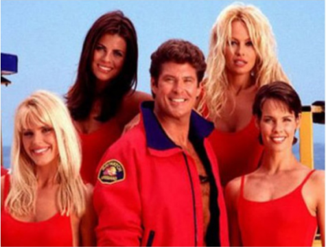 The cast of the original Baywatch series, with Paul on the bottom right.