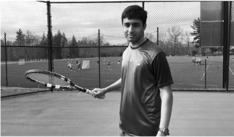 Advait Ganapathy plays tennis after school.