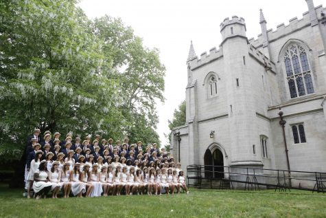 The graduating class of 2015 gathers next to the chapel on last year's Prize Day.