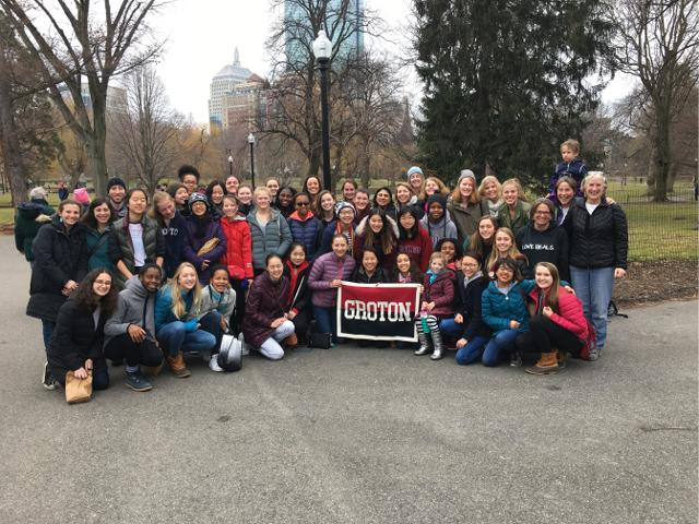 Grotonians pose for a picture in Boston Common.