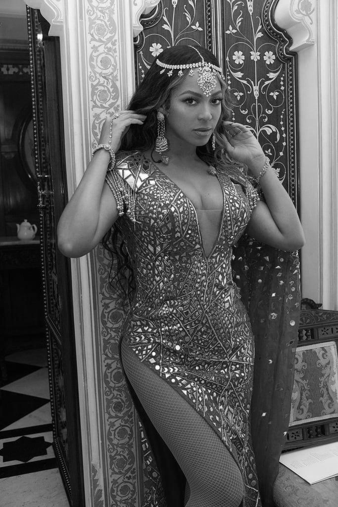 Beyoncé dressed for the Ambani wedding.