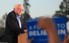 Senator Bernie Sanders at a rally.