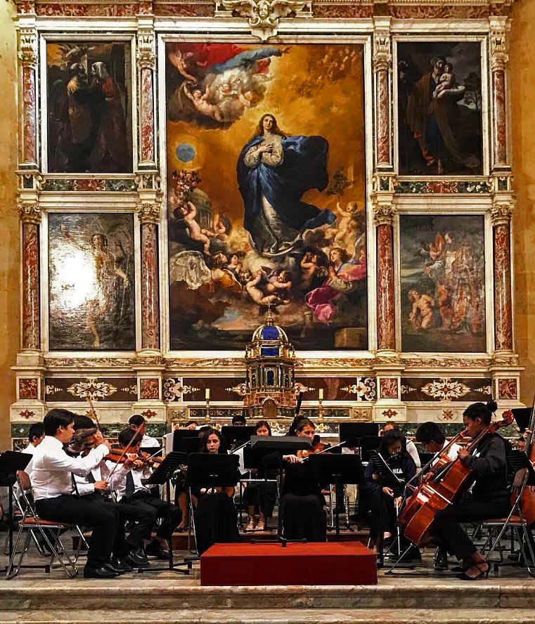 Groton School Chamber Orchestra performing in Salamanca, Spain.