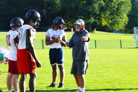 Jamie Lamoreaux coaching Groton Football.