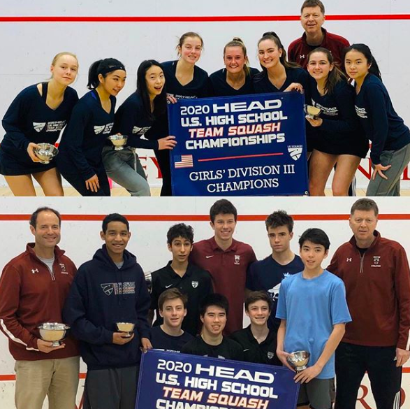 Champions! The varsity girls and boys squash teams after winning Nationals!