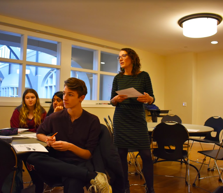 Sally Bliumis-Dunn leads a fourth form poetry workshop.