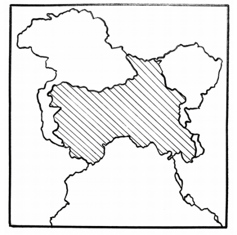 A map of Kashmir. The once-autonomous region is surrounded by larger powers, namely India, Pakistan and China.