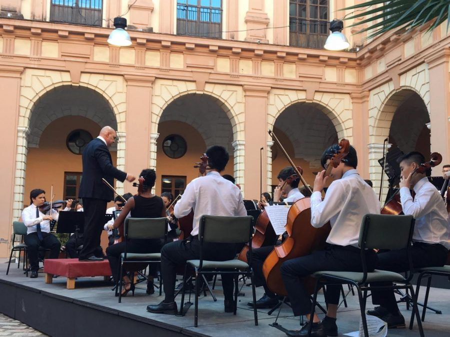 The Chamber Orchestra performing in Sevillia, Spain on last summer's musical global education opportunity (GEO). This year, unfortunately, all GEOs have been postponed or cancelled.