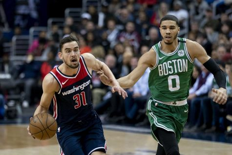 Jayson Tatum of the Boston Celtics on the right. Courtesy of Creative Commons.